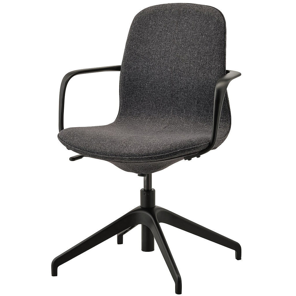 Fixed office chair with armrest